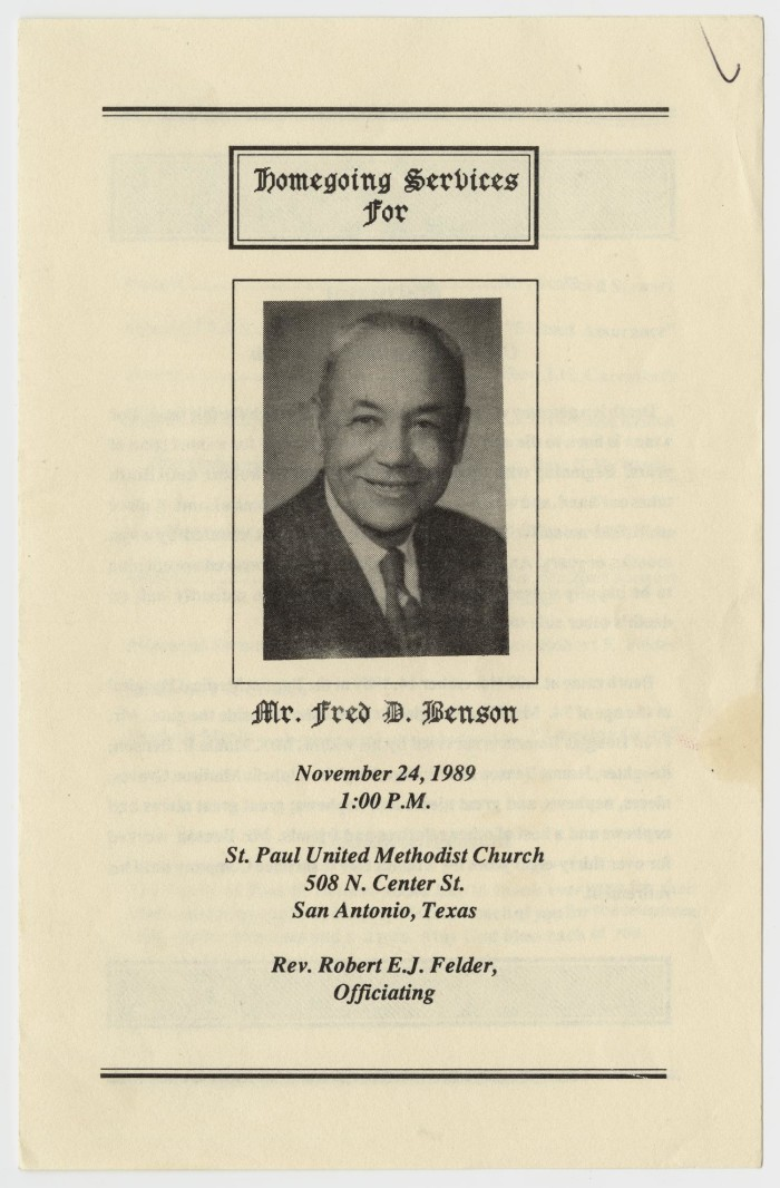 funeral program for fred d benson november 24 1989 the portal