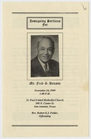 Primary view of object titled '[Funeral Program for Fred D. Benson, November 24, 1989]'.