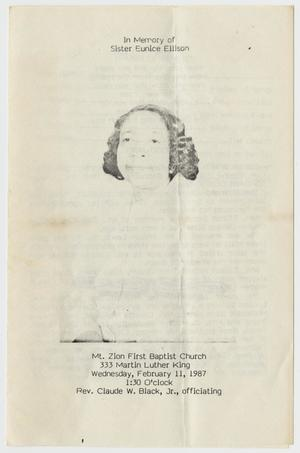 Primary view of object titled '[Funeral Program for Eunice Ellison, February 11, 1987]'.