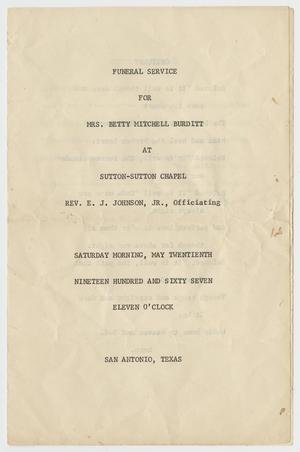 Primary view of object titled '[Funeral Program for Betty Mitchell Burditt, May 20, 1967]'.