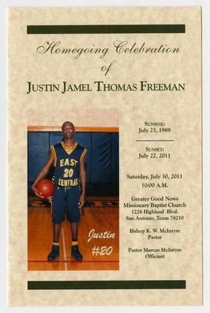 Primary view of object titled '[Funeral Program for Justin Jamel Thomas Freeman, July 30, 2011]'.