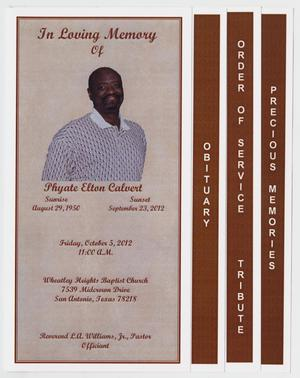 Primary view of object titled '[Funeral Program for Phyate Elton Calvert, October 5, 2012]'.
