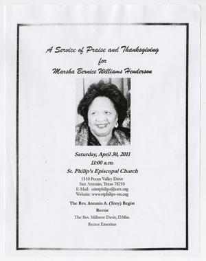 Primary view of object titled '[Funeral Program for Marsha Bernice Williams Henderson, April 30, 2011]'.