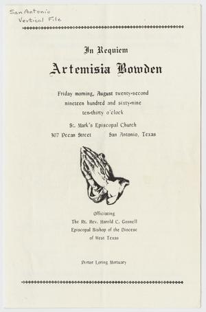 Primary view of object titled '[Funeral Program for Artemisia Bowden, August 22, 1969]'.