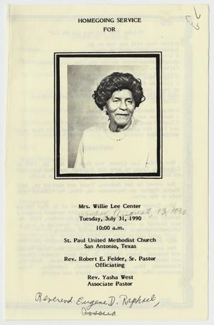 Primary view of object titled '[Funeral Program for Willie Lee Center, July 31, 1990]'.