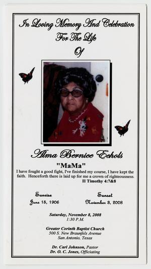 Primary view of object titled '[Funeral Program for Alma Bernice Echols, November 8, 2008]'.