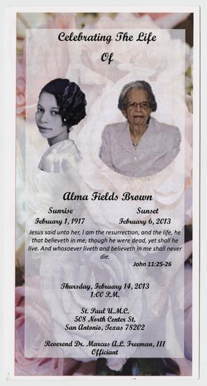 [Funeral Program for Alma Fields Brown, February 14, 2013]