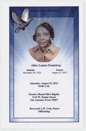Primary view of object titled '[Funeral Program for Alice Louise Fontelroy, August 25, 2012]'.