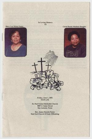 Primary view of object titled '[Funeral Program for Carol Denise Matlock Douglas and Mary Lee White Foster, June 1, 2001]'.