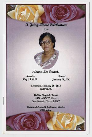Primary view of object titled '[Funeral Program for Norma Lee Daniels, January 26, 2013]'.