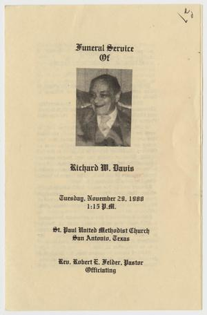 Primary view of object titled '[Funeral Program for Richard W. Davis, November 29, 1988]'.