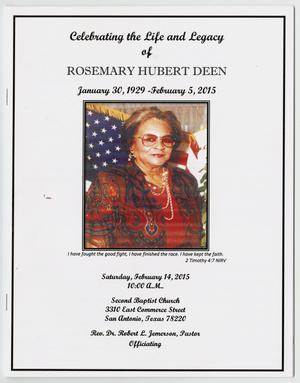 Primary view of object titled '[Funeral Program for Rosemary Hubert Deen, February 14, 2015]'.