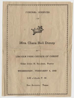 Primary view of object titled '[Funeral Program for Clara Bell Dimry, February 4, 1948]'.
