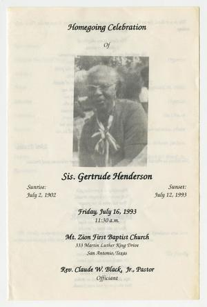Primary view of object titled '[Funeral Program for Gertrude Henderson, July 16, 1993]'.