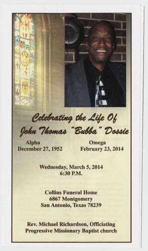 Primary view of object titled '[Funeral Program for John Thomas Dossie, March 5, 2014]'.