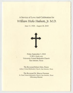 [Funeral Program for William Hicks Hadnott, Jr., September 3, 2010]
