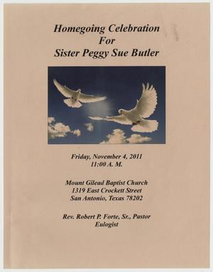 Primary view of object titled '[Funeral Program for Peggy Sue Butler, November 4, 2011]'.