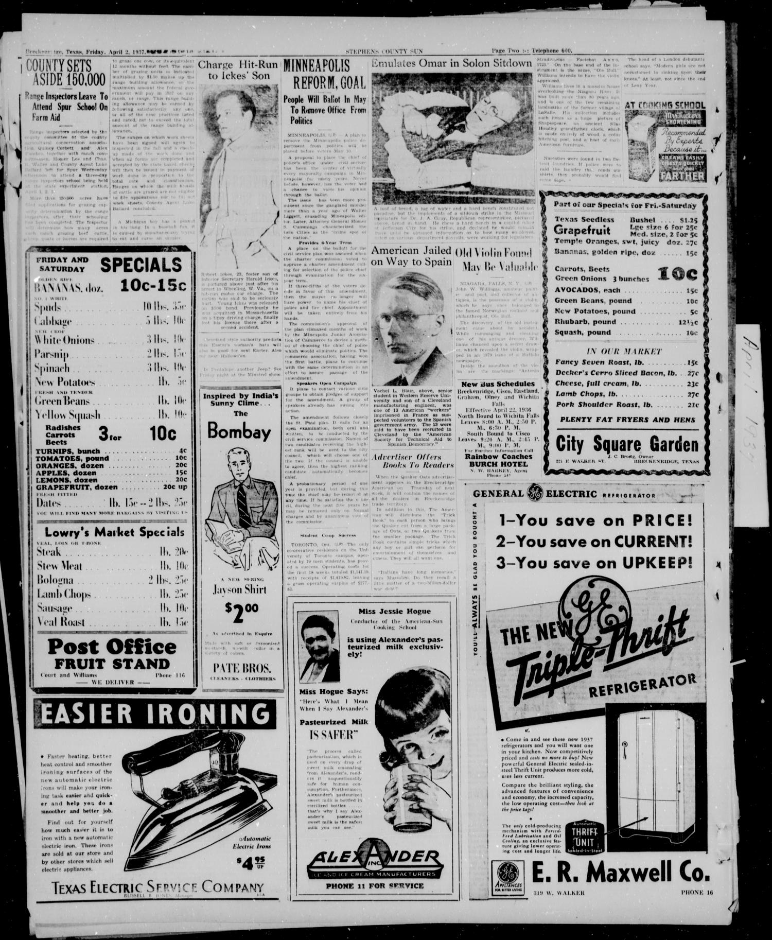 Stephens County Sun (Breckenridge, Tex.), Vol. 7, No. 39, Ed. 1, Friday, April 2, 1937                                                                                                      [Sequence #]: 2 of 14