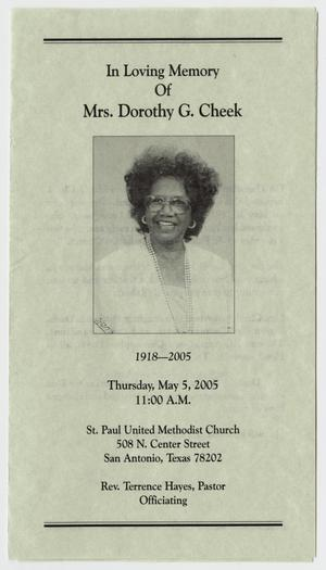 Primary view of object titled '[Funeral Program for Dorothy G. Cheek, May 5, 2005]'.