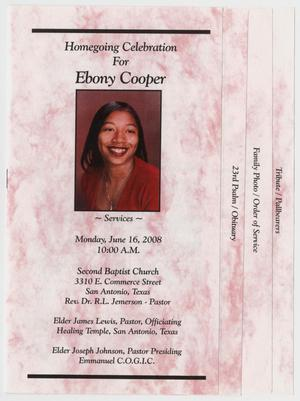 Primary view of object titled '[Funeral Program for Ebony Cooper, June 18, 2008]'.