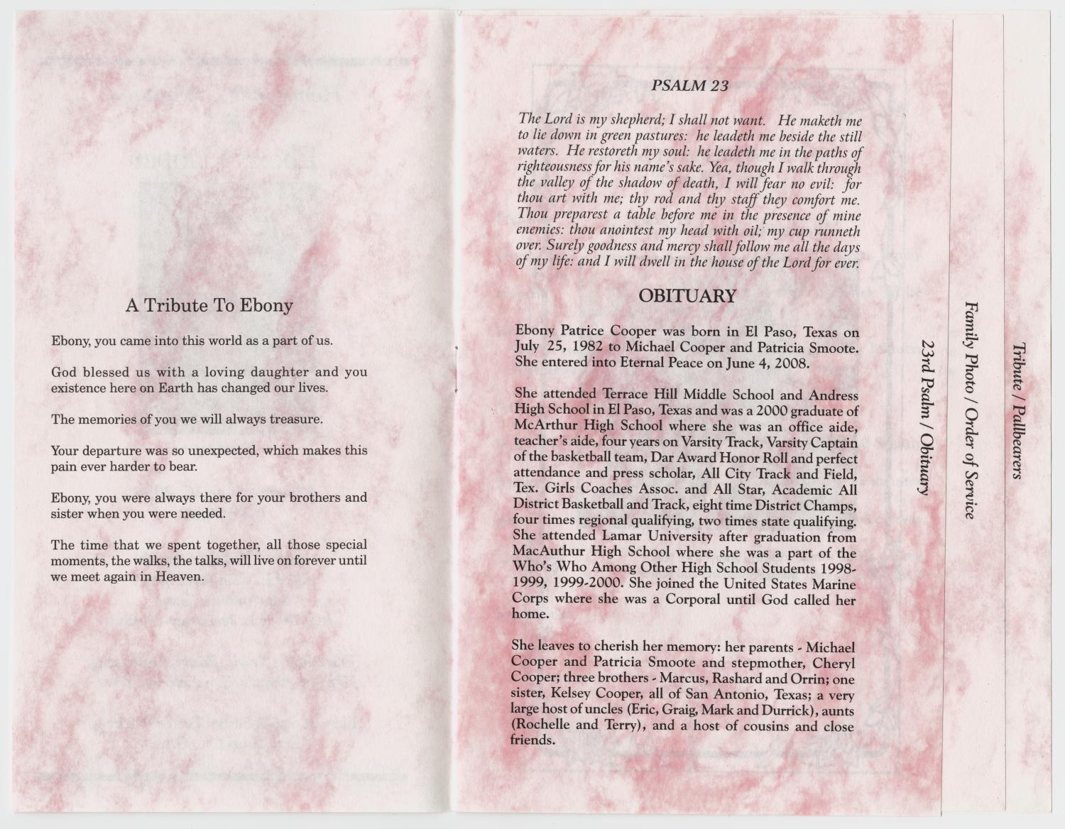 [Funeral Program for Ebony Cooper, June 18, 2008]                                                                                                      [Sequence #]: 2 of 5
