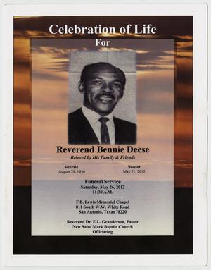 Primary view of object titled '[Funeral Program for Bennie Deese, May 26, 2012]'.