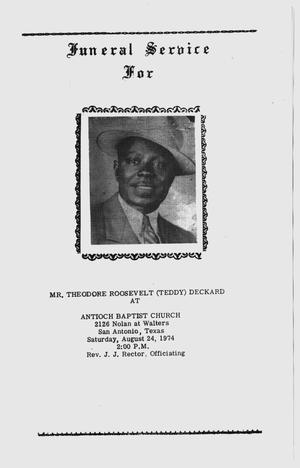 [Funeral Program for Theodore Roosevelt Deckard, August 24, 1974]