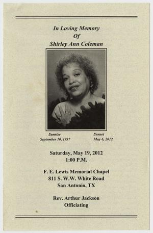 [Funeral Program for Shirley Ann Coleman, May 19, 2012]
