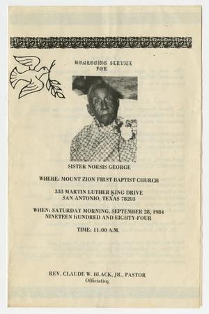 [Funeral Program for Norsis George, September 28, 1984]