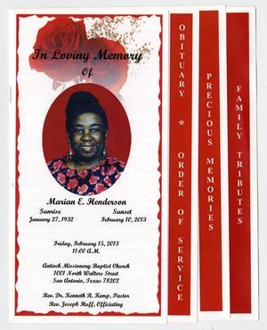 [Funeral Program for Marian E. Henderson, February 15, 2013]