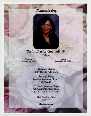[Funeral Program for Veola Bernice Edwards, Jr., September 25, 2012]