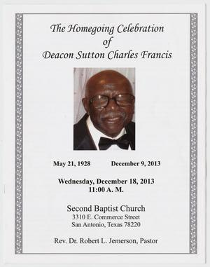 Primary view of object titled '[Funeral Program for Sutton Charles Francis, December 18, 2013]'.