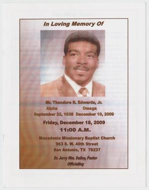 Primary view of object titled '[Funeral Program for Theodore R. Edwards, Jr., December 18, 2009]'.