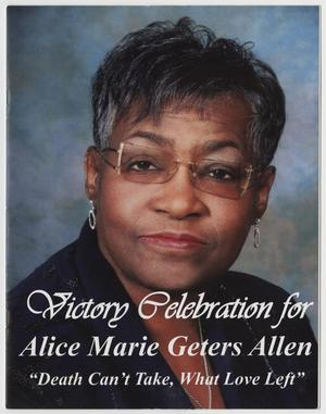 [Funeral Program for Alice Matie Geters Allen, October 31, 2014]