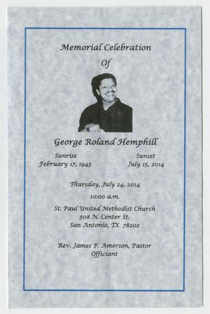 Primary view of object titled '[Funeral Program for George Roland Hemphill, July 24, 2014]'.
