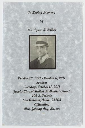 [Funeral Program for Tyrus F. Collier, October 11, 2011]