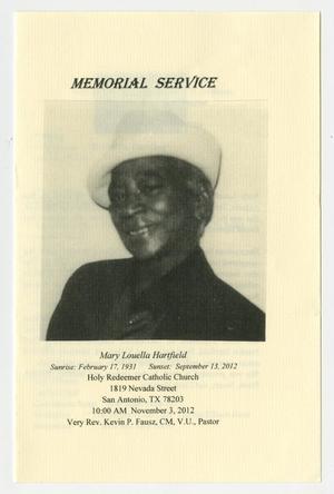 [Funeral Program for Mary Louella Hartfield, November 3, 2012]