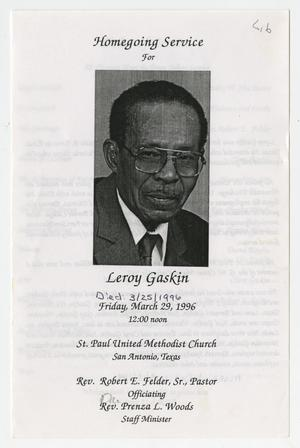 [Funeral Program for Leroy Gaskin, March 29, 1996]