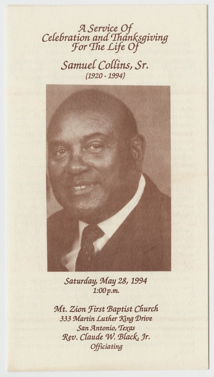 Funeral Program For Samuel Collins Sr May 28 1994 The Portal