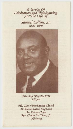 [Funeral Program for Samuel Collins, Sr., May 28, 1994]