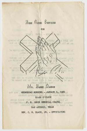 Primary view of object titled '[Funeral Program for Harry Dawson, January 4, 1984]'.