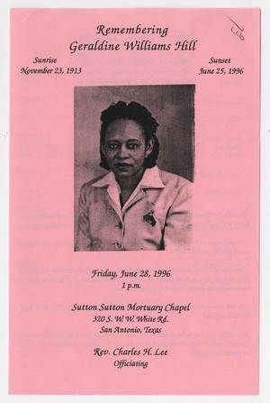 [Funeral Program for Geraldine Williams Hill, June 28, 1996]