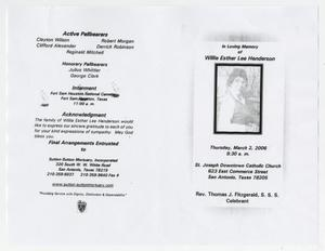 Primary view of object titled '[Funeral Program for Willie Esther Lee Henderson, March 2, 2006]'.