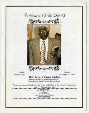 Primary view of object titled '[Funeral Program for Lenard Curtis Gaskin]'.