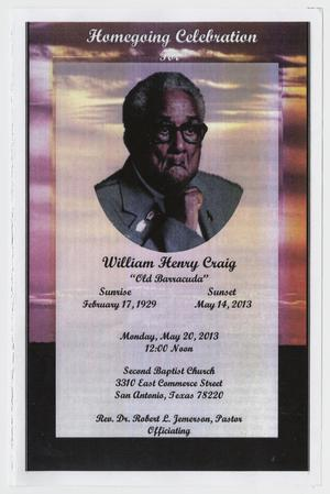 Primary view of object titled '[Funeral Program for William Henry Craig, May 20, 2013]'.