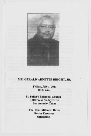 Primary view of object titled '[Funeral Program for Gerald Arnette Bright, Jr., July 1, 2011]'.