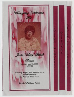 "Primary view of object titled '[Funeral Program for Jessie ""Mary"" Black, May 20, 2013]'."
