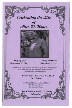 Primary view of object titled '[Funeral Program for Alice W. Hines, November 14, 2012]'.