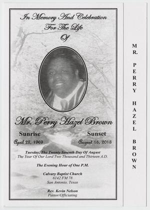 Primary view of object titled '[Funeral Program for Perry Hazel Brown, August 27, 2013]'.