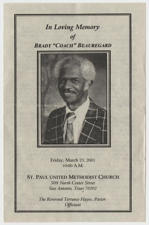 Primary view of object titled '[Funeral Program for Brady Beauregard, March 23, 2001]'.